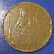 1946 1d ONE' dot variety George VI Penny - better grade than usual