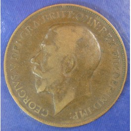 1911 Gouby X 1d George V Hollow Neck Penny - Extremely rare coin